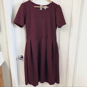 Lularoe Amelia Maroon Raised Pattern Dress